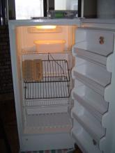 freezer interior with egg racks tipped forward