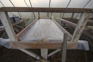 "A 3"" ""bathtub"" is constructed from 3/8"" plywood and poly."